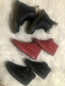 Toddler Boys Shoe Lot Dr Martens Vans Sz 10 Black Red Zip Up Slip On