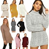 Ladies Womens Polo Neck Chunky Cable Knitted Jumper Dress Sweater Pullover Tops