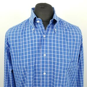 HUGO BOSS Mens Vintage Shirt 42 XL Long Sleeve Blue Classic Fit Check Cotton