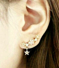 Crystal Star Earrings Ear Crawlers SET Bar Cuff Climber Vine Hook Clip