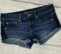 American Eagle Dark Wash Jean Shorts sz 4 Women's Denim Frayed Hem