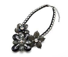 CC692 * Collier Plastron Maillons Métal Fleurs Perles Résine Mode Femme - Noir