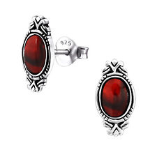 Red Vintage Oval Shell Sterling Silver Stud Earrings 12MM