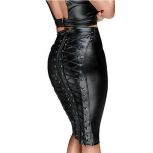 Women Sexy PU Faux Leather Skirt High Waist Zip Midi Bodycon Pencil Black