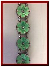 Vintage Meka Denmark Sterling green clover Enamel  Bracelet