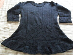 Marion Foale Hand Knitted - Black Tunic - Size 16