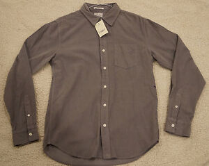 LUCKY BRAND Mens GRAY THIN CORDUROY COTTON CLASSIC FIT LS BUTTON SHIRT  S  $70