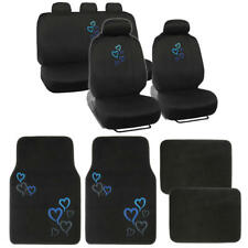 Blue Hearts Car Seat Covers + Carpet Floor Mats Full Interior Protection 13PC