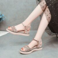 Med Wedge Heel Womens Ankle Strap Casual Shoes Open Toe Sequins Summer Sandals