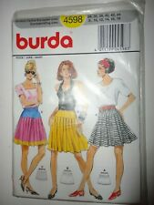 Pleated Skirt Dropped Waist Variations Burda Pattern 4598 Uncut Sizes 8-18 UNCUT