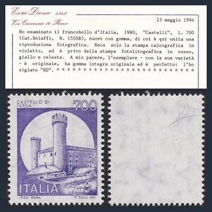 1980 Italia Repubblica L. 700 Castello VIOLA Varietà Naturale Certific. Diena **