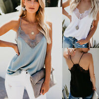 Women's Silk Satin Sleeveless Cami Lace V Neck Tank Vest Strappy Tops Blouses