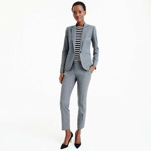 J.Crew 1035 Super 120's Womens Gray One button Wool Blazer size 8p retails $268