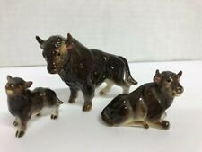 New ListingVintage Miniature porcelain Buffalo family Figurines