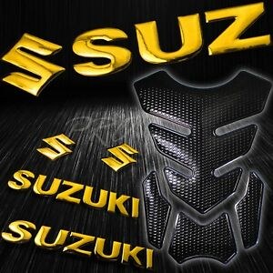 """4PCs Perforated Black Fuel Tank Pad+8"""" Gold 3D Suzuki Logo+Letter Emblem Sticker"""