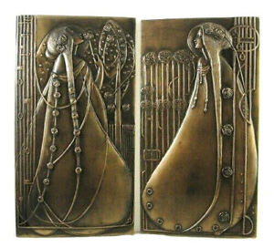 Rene Mackintosh Wall Plaques Ornament Bronzed Resin Art Nouveau Style NEW IN