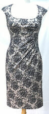 Oasis Size 10 Nude Black Lace Print Fitted Wiggle Galaxy Dress Wedding Party