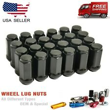 "24PCS BLACK BULGE ACORN LUG NUTS 1/2""-20 CLOSED END 2"" DODGE DURANGO, DAKOT"