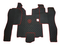 RHD Floor Mats Cover For SCANIA R 2004-2013 MANUAL BLACK RED LOGO Eco Leather.
