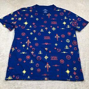 Captain Marvel Blue All over Print T-Shirt Size 2XL XXL Short Sleeve Avengers