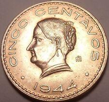 Large Rare Gem Unc Mexico 1944 UNC 5 Centavos~Excellent~Free Shipping