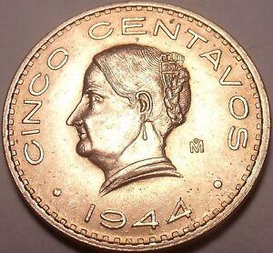 Large Rare Gem UNC Mexico 1944 UNC 5 Centavos~Excellent