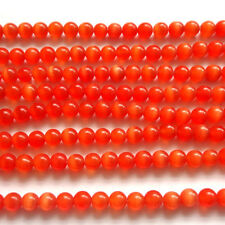 "16"" Red Cat's Eye Glass 8mm Round Beads"