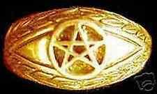 Look New Gold Plated Celtic Dragon Evil Eye ring Pentagram