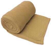 Beige Luxury Warm Soft Large 254cm x 265cm Fleece Sofa Couch Bed Blanket Throw