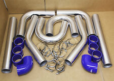 BLUE 3' TURBO INTERCOOLER U PIPING KIT+COUPLER+CLAMPS CIVIC CRX DEL SOL B16 B18