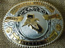 GIST 2008 belt buckle LAFAYETTE FARMS CALIFORNIA WATERFOWL DUCK FLOWERS