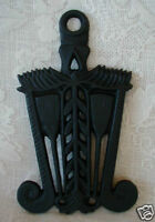 Collectible Vintage Black Wrought Iron Staff of Life Wheat Trivet