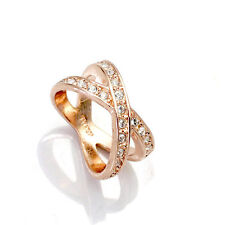 Austrian Crystals Bird Nest Rose White Gold Plated Cocktail Ring Size 6,7,8,9