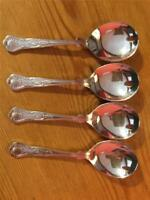 4 x Vintage Silver plated EPNS Kings Pattern Sweet Spoons A1 14cm