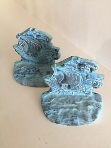 """Beach Chic Decor Turquoise colored brass sailboat  bookends 6"""" distressed"""