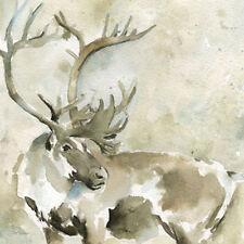 Carol Robinson: Standing Tall Fertig-Bild 30x30 Hirsch Wild-Tier Geweih Aquarell