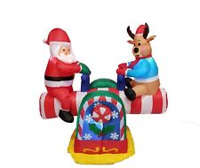 Christmas Inflatable Animated Santa Claus Reindeer Teeter Totter Yard Decoration