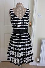 New Laura Ashley size 14 Knee length Black & White spotted sleeveless Tea dress