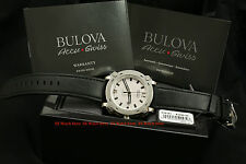 63B191 Bulova Accu-Swiss Percheron Automatic Silver Dial Black Leather Watch