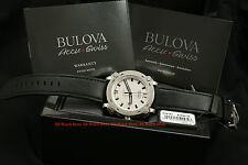 63B191 Bulova Accu-Swiss Percheron Automatic Silver Dial Black Leather Watch