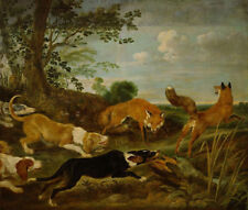 """perfect 30x30 oil painting handpainted on canvas""""Fox hunt""""N14038"""