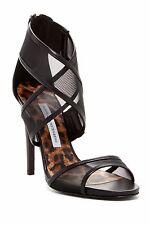 NEUF DIANE VON FURSTENBERG Jules 9.5 B cuir noir sandales talon Italie