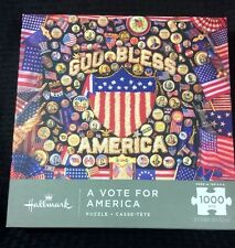 Hallmark Puzzle God Bless America USA Flags Buttons 1000pc 24x30 Sealed