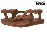 NEW Teva Womens Original Suede Braided Ankle-Strap Sandal Leather Flat Size 10