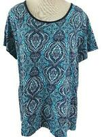 Made For Life knit top size 1X short sleeve aqua blue floral  casual