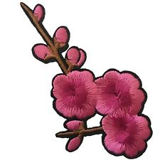 Pink plum blossom patch iron on - sakura twig with flowers buds iron-on patches