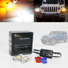 2pcs Switchback Turn Signal Drl Parking Lights Bulbs For 2018 2019 Jeep Wrangler