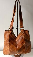 Vintage Lucky Brand Real Leather Tan Tote Shoulder Bag Great Condition
