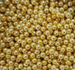 Gold 6mm Edible Sugar Pearls/ Dragée Balls - 50g
