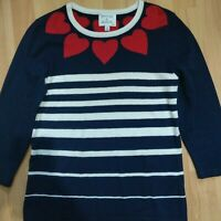 Antoni & Alison Label Navy & White Stripe Red Heart Jumper Size Large UK 14